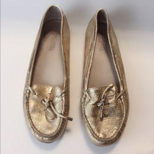 Michael Kors Soft Gold Leather Moccasins